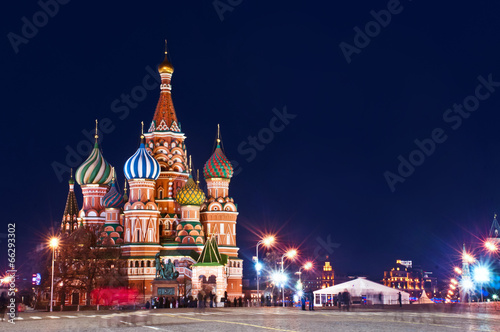 Foto op Canvas Temple Moscow St. Basil's Cathedral Night Shot