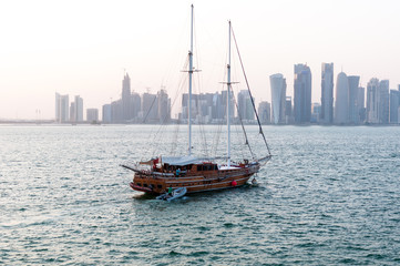 Skyline of Doha, west bay, FIFA 2022, Doha, Qatar