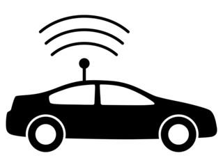 Schwarzes Icon für autonomes Fahren – Vektor/freigestellt