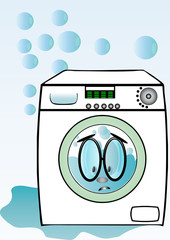Machine à laver le linge qui fuit.