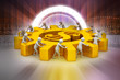 3d people push the dollar wheel