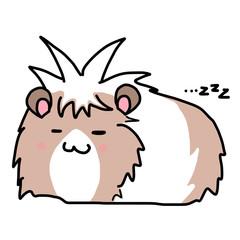 モルモットのイラスト/眠い