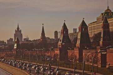 Moscow's Kremlin view at sunset