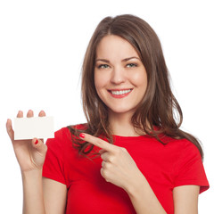 Young woman with blank card