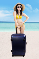 Woman with suitcase standing at beach