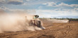 Tractor plowing dry land