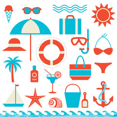 Summer and sea related icons vector set