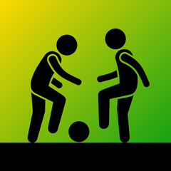 Two Football Players with Ball. Vector Icon