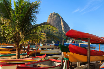 Sugarloaf boats palm tree red beach (praia vermelha), Rio de Jan