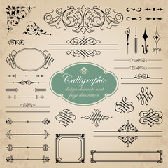 Calligraphic design elements and page decoration set 1