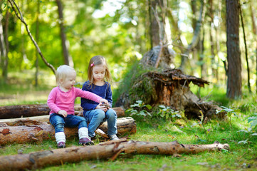 Two little sisters sitting on a log in a forest