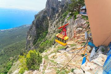 Ropeway in Yalta leading to the of Ai-Petri mountain, Crimea.