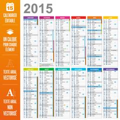 Calendrier éditable 2015