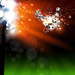 Football spotlight background with soccer ball, easy all editabl