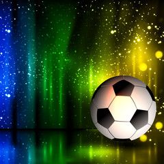 Spotlight football glitters background with soccer ball