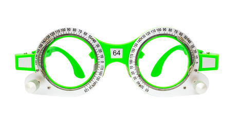 Green Spectacles used for eyesight tests isolated