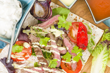Grilled Beef Wraps - Griddled sirloin steak and blue cheese wrap