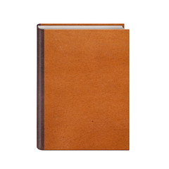 Book with brown leather hardcover isolated