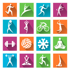 Sport and fitness colorful icons