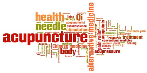 Acupuncture alternative medicine - word cloud illustration