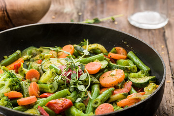 vegetable pan with fresh ingredients