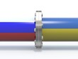gas tubes with russian and ukraine flag