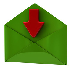 Green envelope and red arrow