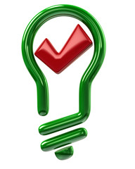 Green light bulb and red tick sign