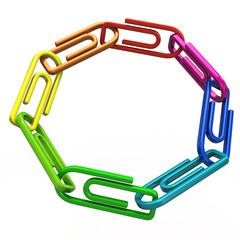 Ring of colorful paper clips