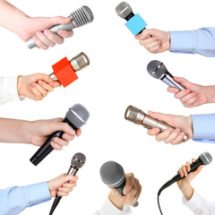 Collage of hands with microphone isolated on white