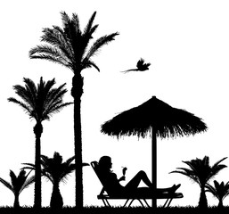 Chilling Under Palm Trees Vector Set