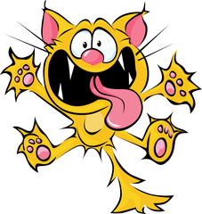 crazy cat cartoon - spitting and scratching