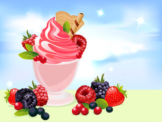 vector sundae illustration with berry and blue sky