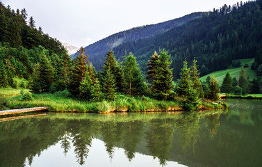 Beautiful lake in austrian mountains