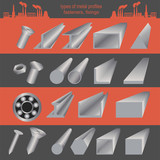Set of metallurgy icons, metal working tools; steel profiles for poster