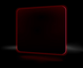 Abstract black burning red square on a black background