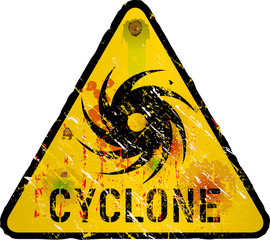 cyclone warning sign, heavy weathered, vector eps 10