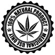 Stamp with marijuana leaf emblem. Cannabis leaf silhouette symbo