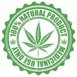 Grunge stamp with marijuana leaf emblem. Cannabis leaf silhouett