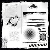 Set of grunge elements, vector