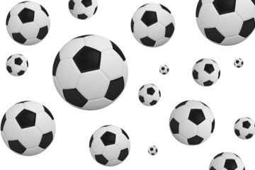 Black and white footballs