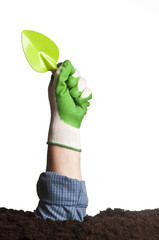Hand holding green trowel