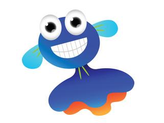 Blue cartoon jellyfish