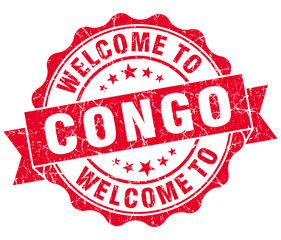 Welcome to Congo red grungy vintage isolated seal