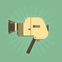 Retro hand film camera in simple style