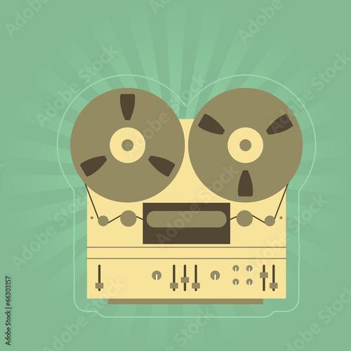 Retro open-reel tape recorder (magnetophone)