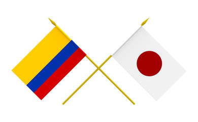 Flags, Japan and Colombia