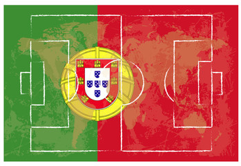 football court on Portugal flag background