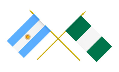 Flags, Nigeria and Argentina