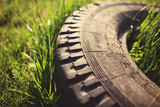 Old tire in grass, tinted photo - 66303709